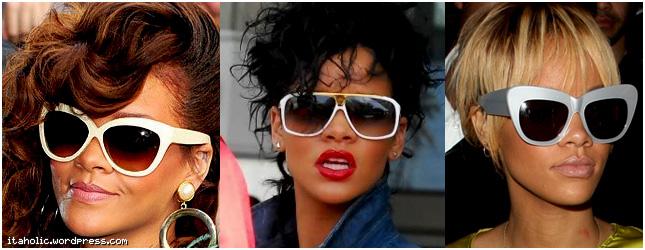 24bdd7a079e1b Dizia-se que armações de cores claras não funcionavam com a pele negra, mas  a Rihanna mostrou que funcionam! Eu só achei a armação de gatinho prateada  meio ...
